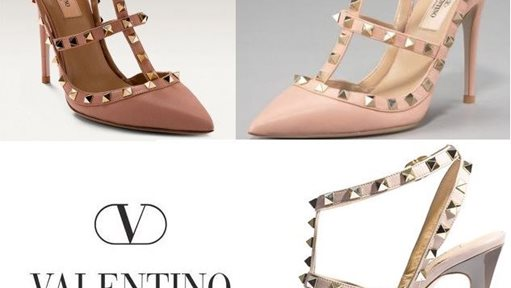 Comparison between real and steal Valentino shoes