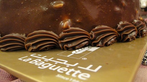 Chocolate cake and croissants from La Baguette