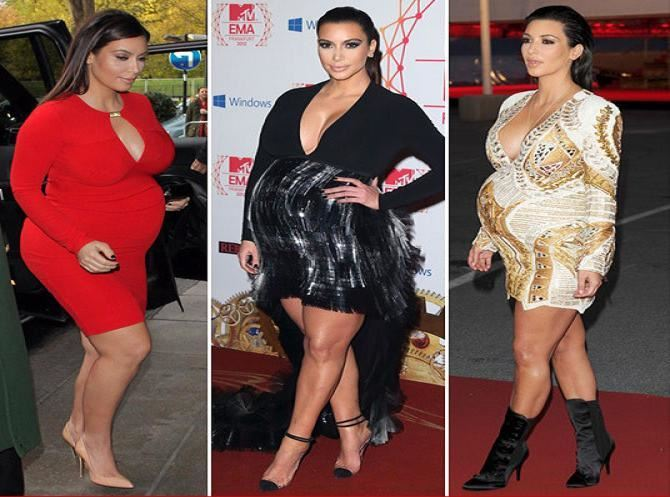 A mix of photos for the pregnancy of the mother to be Kim Kardashian