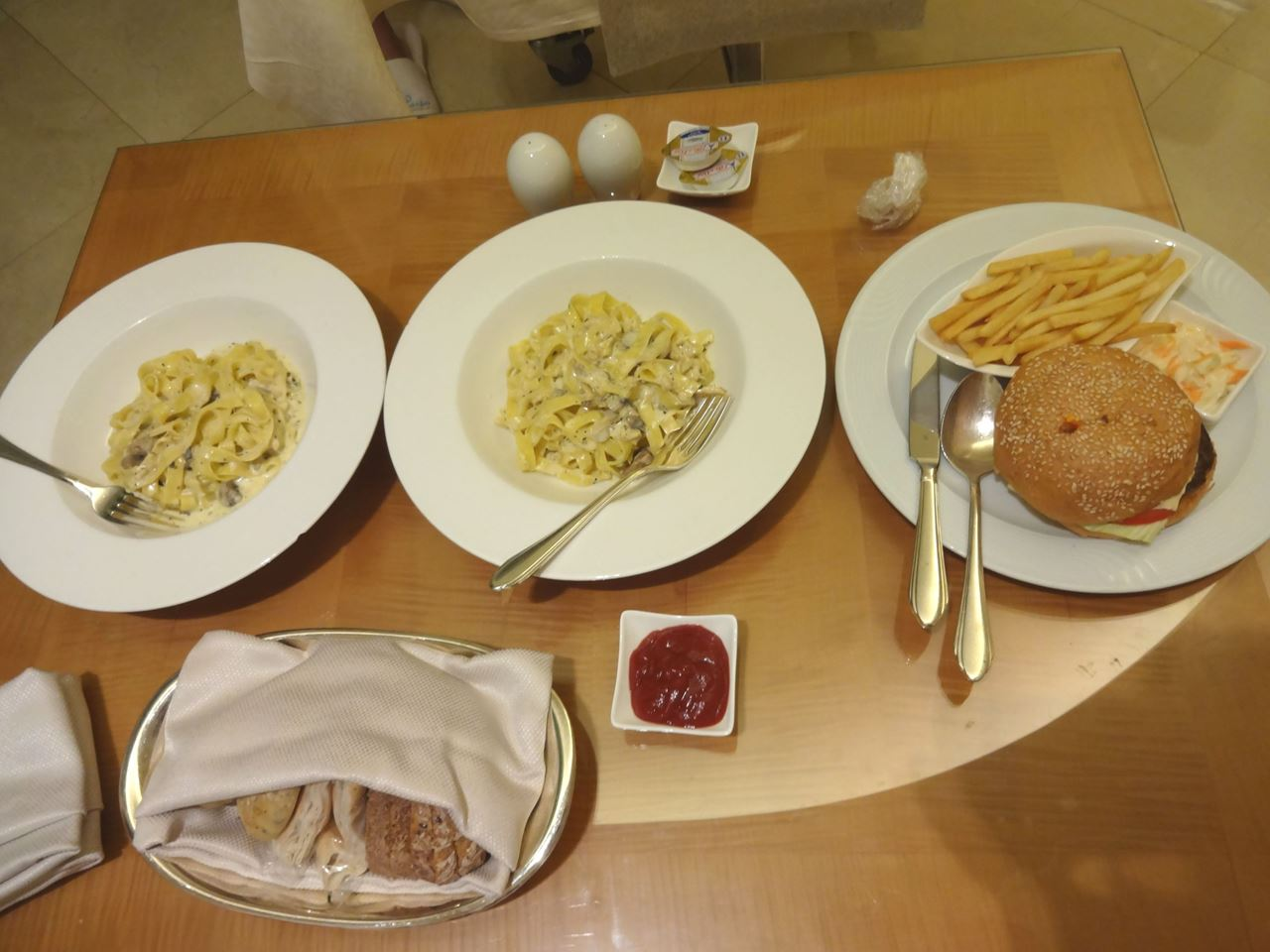 Dinner from the room service menu in Marina Hotel