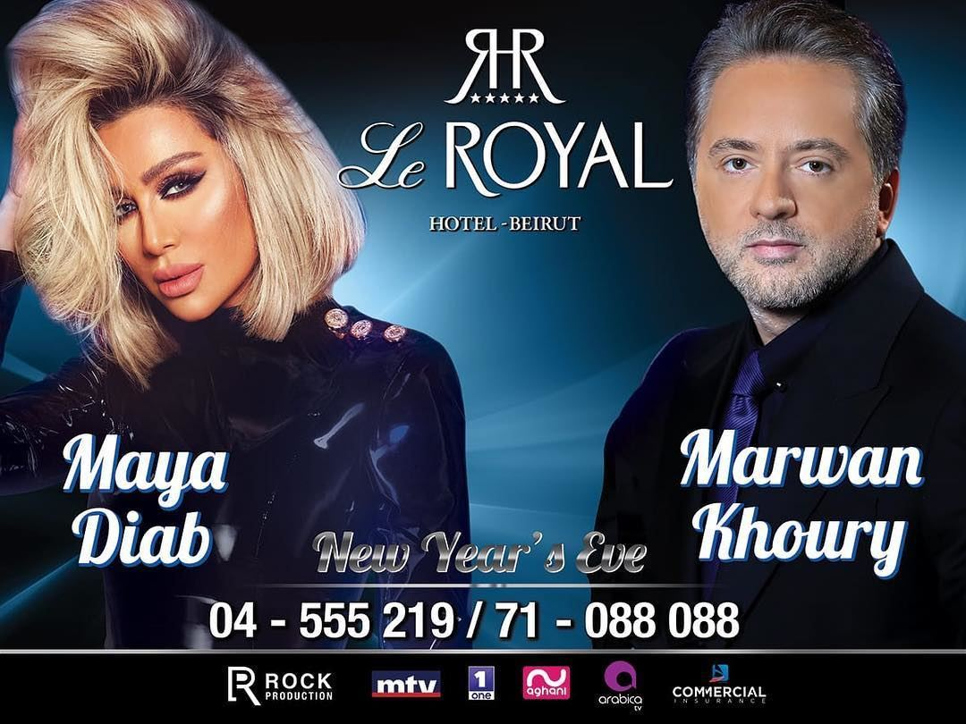 Marwan Khoury and Maya Diab in Le Royal Hotel on New Year's Eve 2019