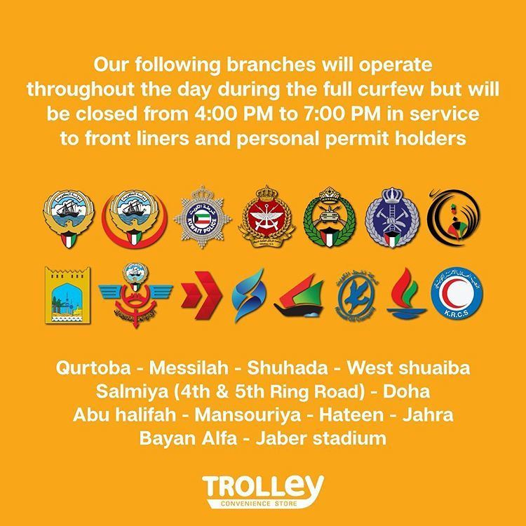 Trolley Kuwait Timings and Operating Branches during Total Curfew