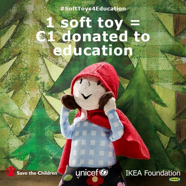 Buy a soft toy from IKEA and donate 1 euro to education