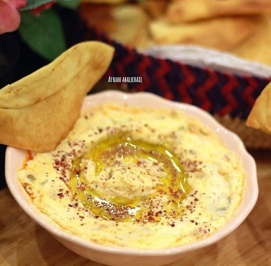 Hummus with Labneh and Makdous dipping recipe