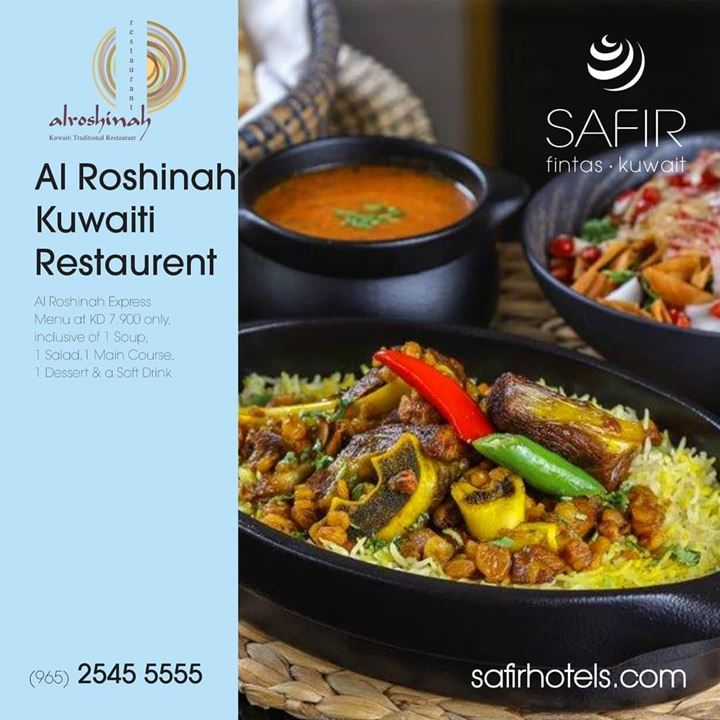 Al Roshinah Kuwaiti Restaurant Express Menu at Safir Fintas Hotel