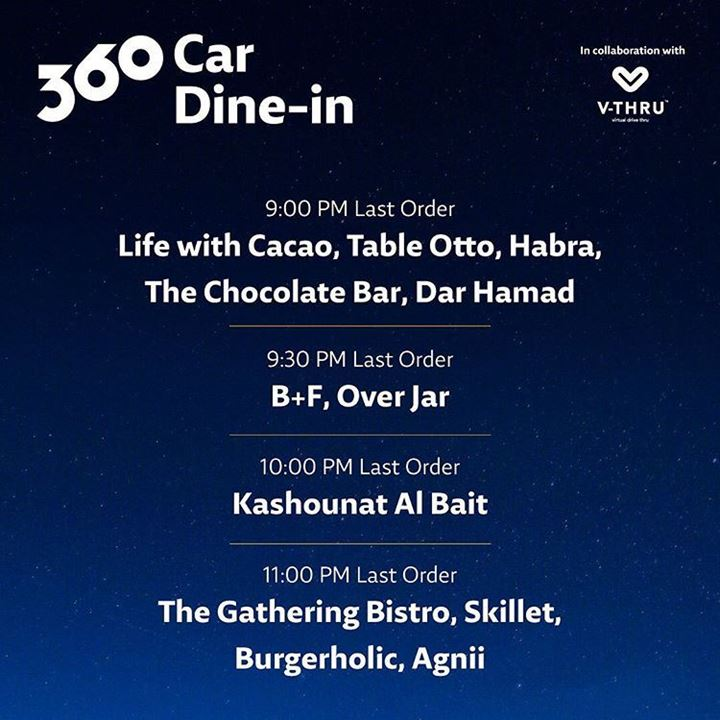 360 Car Dine In Timings and Restaurants Available