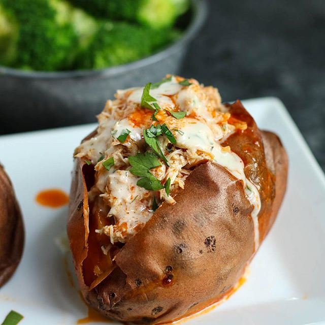 Slow Cooker Buffalo Chicken Stuffed Sweet Potatoes Recipe